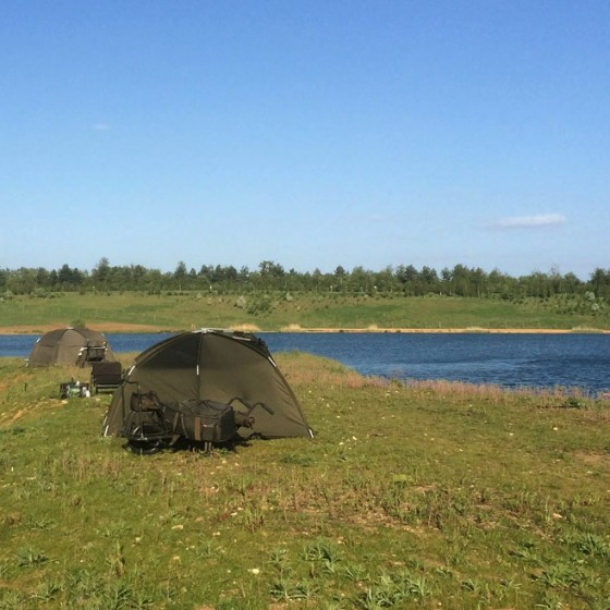 Anglers camping next to St Genevieves Lake, Suffolk